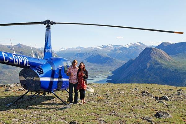 Couple enjoying scenic Helicopter Flightseeing Tour
